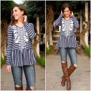 Navy Striped and Floral Threaded Embroidered Top